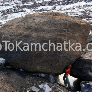 Kamchatka. Klyuchevskaya volcanic group. Volcanic bomb. Tours to the Klyuchevskoy volcano